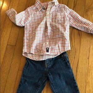 Plaid shirt + jeans